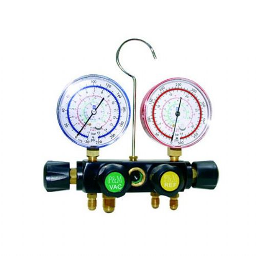 P&M Budget 4 Way Manifold 80mm Gauges For Use with R22, R134, R404 And R407